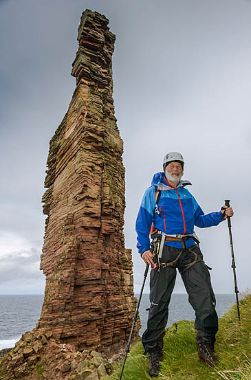 Sir Chris prepares to climb Old Man of Hoy