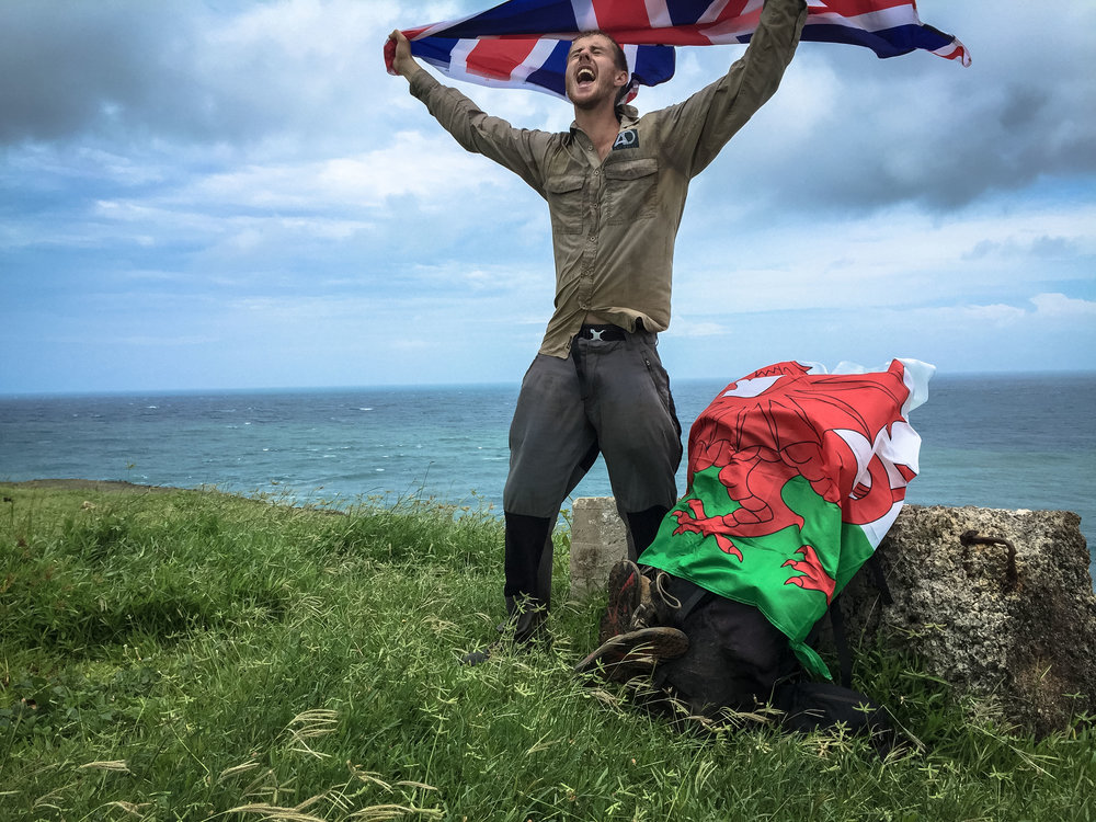 Ash celebrating his record-breaking trek across Madagascar