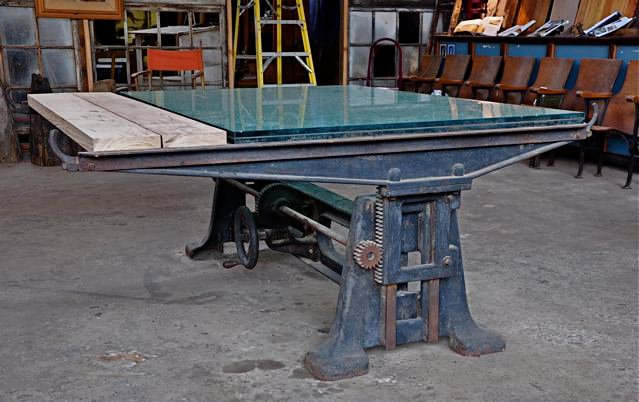 Industrial Work Table With Glass Top