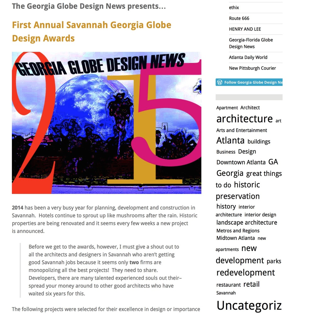 Georgia Globe Design Awards, Jan. 1, 2015