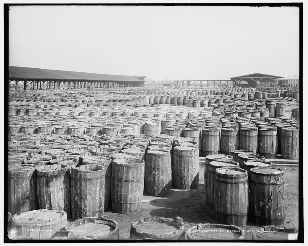 Thousands of barrels of naval stores at the Savannah port, 1904. Library of Congress