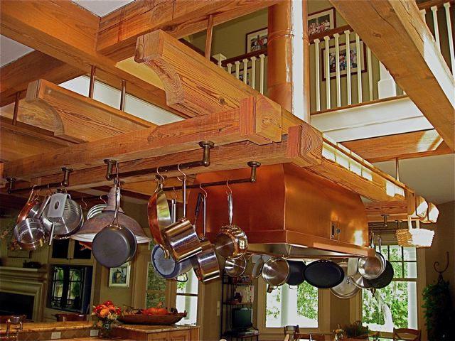 Custom reclaimed heart pine pot rack southern pine company for Reclaimed wood pot rack