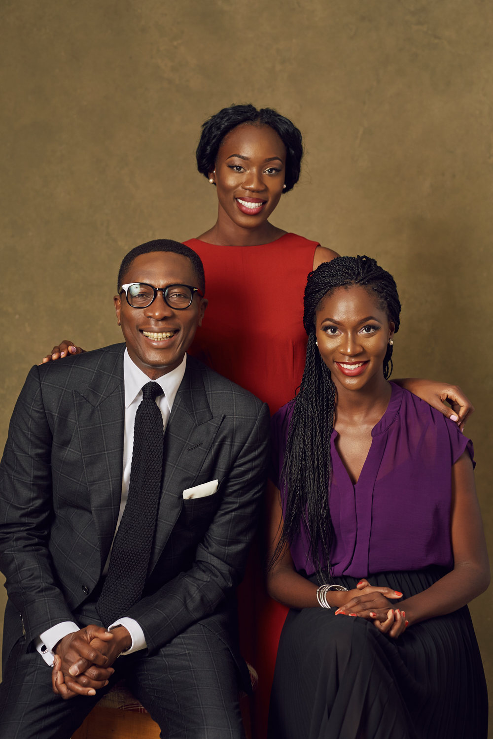 Dr Tony Rapu and his daughters, Kene and Uju Picture Credit: Obi Somto Photography