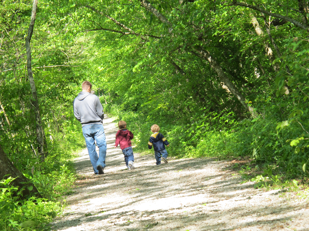 Jeremy and boys, nature path