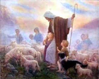 shepherd and children
