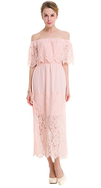 pink lace off should dress