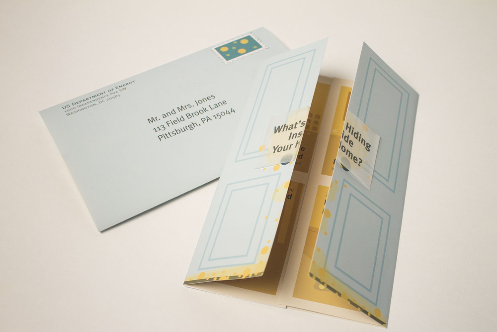 The design is in the form of a mailer. I chose to make it so that the letter opens like the door of a home.