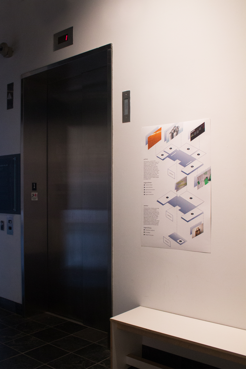 Each floor had a map by the elevator to orient the viewer and explain the different sections of the gallery. The map was also featured in the booklet.