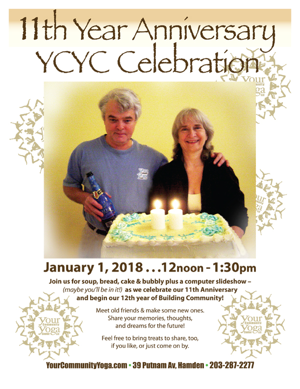 J oin us on New Year's Day 12noon-1:30pm to enjoy soup, bread, cake & bubbly as we begin our 12th year of building community!      Meet old friends & make some new ones. Share memories, thoughts, dreams for the future!   Feel free to bring treats to share too, if you like, or just come on by.     (there is no cost for this event!)