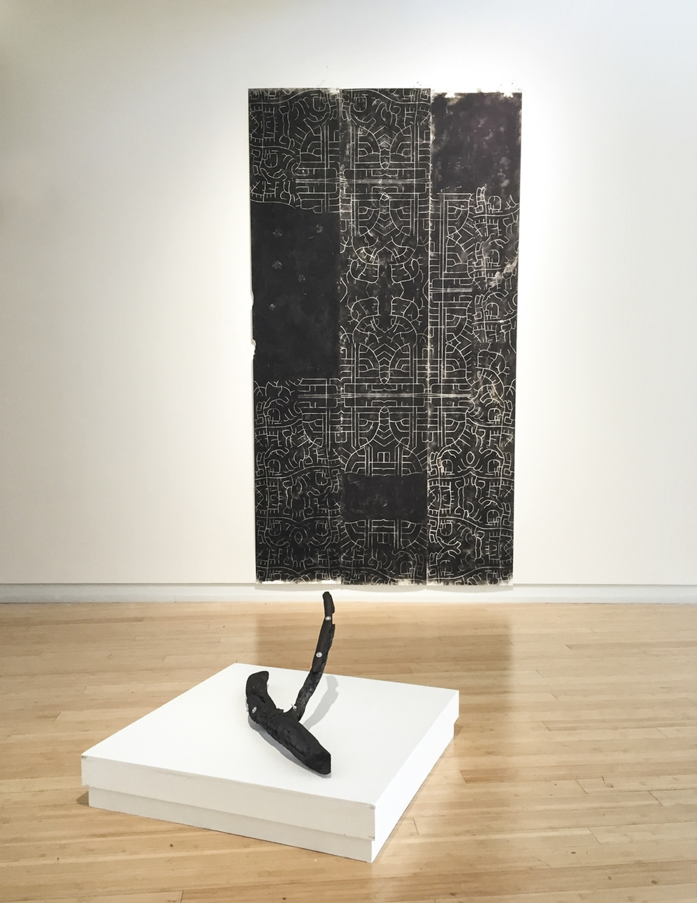 Traditional Curvilinear Convention 2015 soot on paper, charred wood and bolts Drawing: 60 X 108 Inches