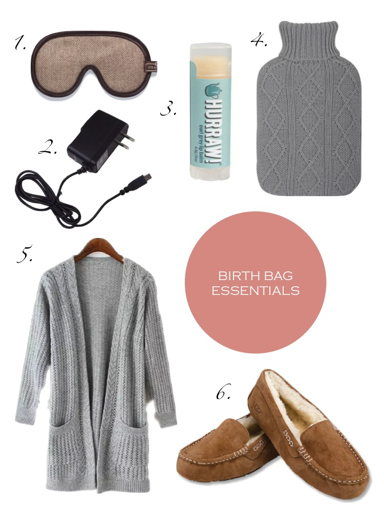 1. Eye Mask, 2. Phone Charger, 3. Lip Balm, 4. Hot Water Bottle, 5. House Coat/Sweater, 6. Slippers