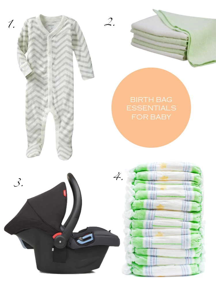 1. Sleepers, 2. Wash Clothes or Baby Wipes, 3. Car Seat, 4. Diapers