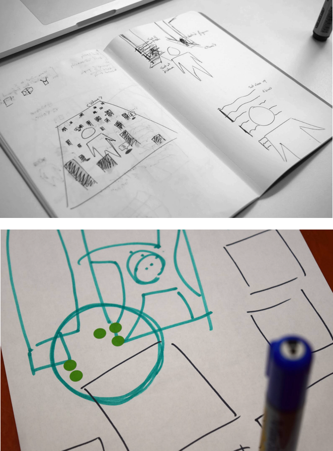 Early sketches visualizing how we wanted to the two different views to feel from the user's perspective.