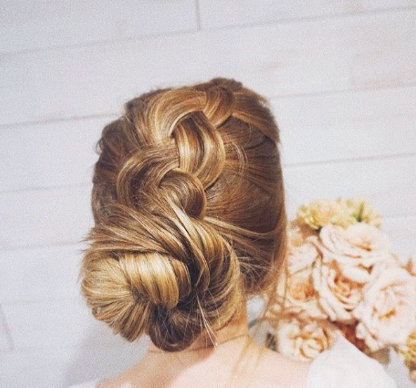 Smooth braided low bun