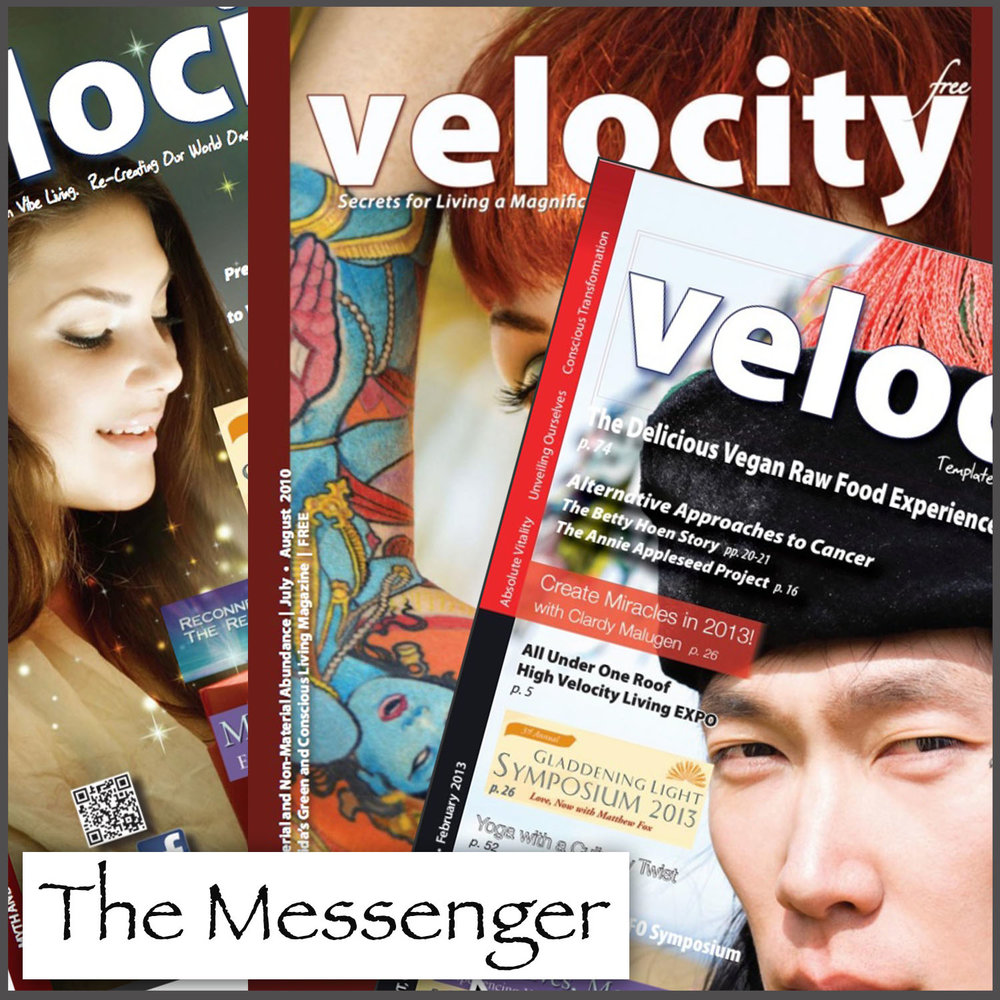 Former front covers from two publications published since 1999: The Messenger and Velocity Magazine