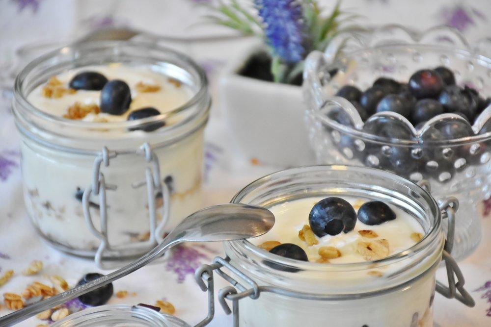 Cashew creme and fresh blueberries