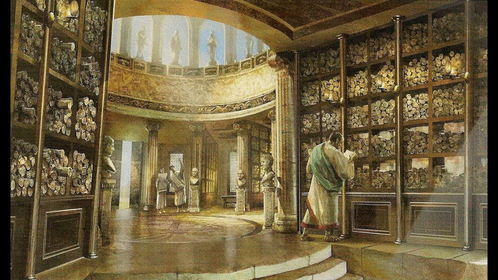 Library of Alexandria with honeycombs storing papyruses