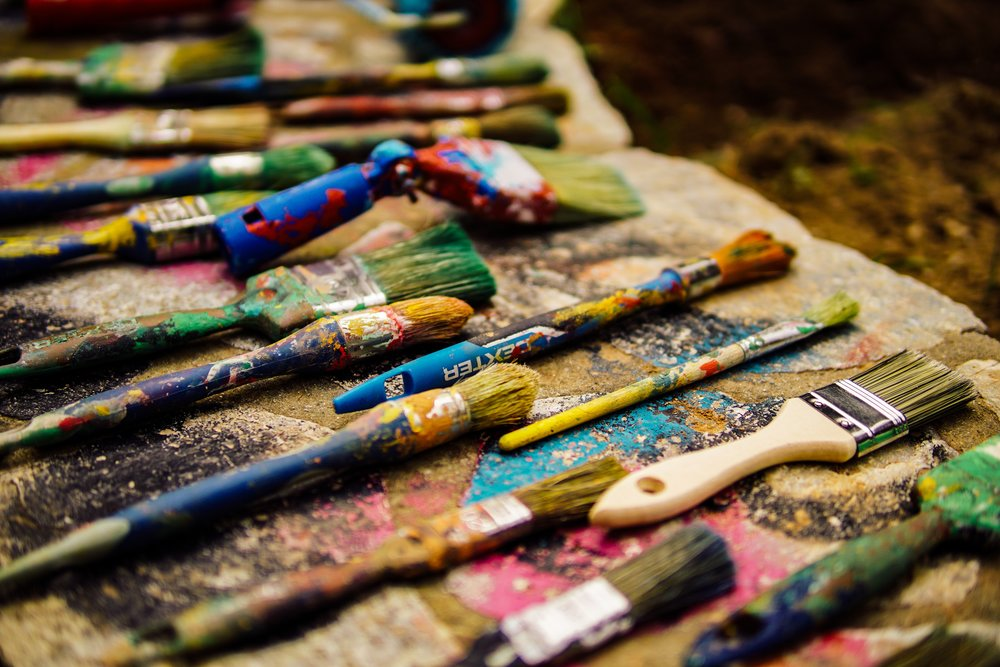 An array of artists' paintbrushes