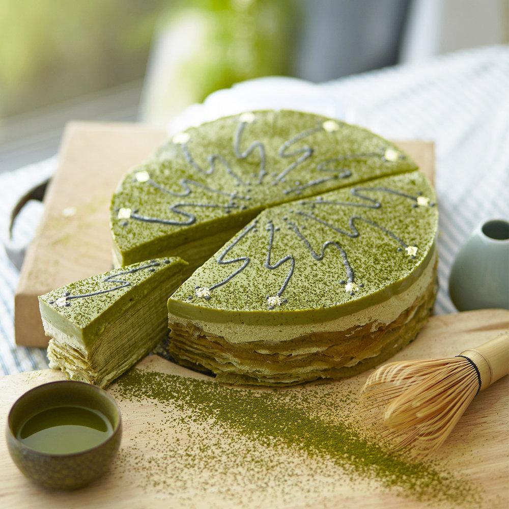 A matcha green tea multi-layered cake
