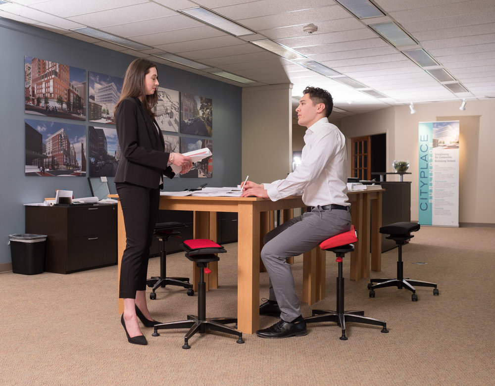 There is a problem with conventional Chairs - Conventional chairs cause slouching and inactivity with backrests, headrests, and armrests. Our chairs let you find your naturally perfect posture while making sitting active and engaging core musculature. By not locking you into one set position, The QOR360 chair promotes full body health.