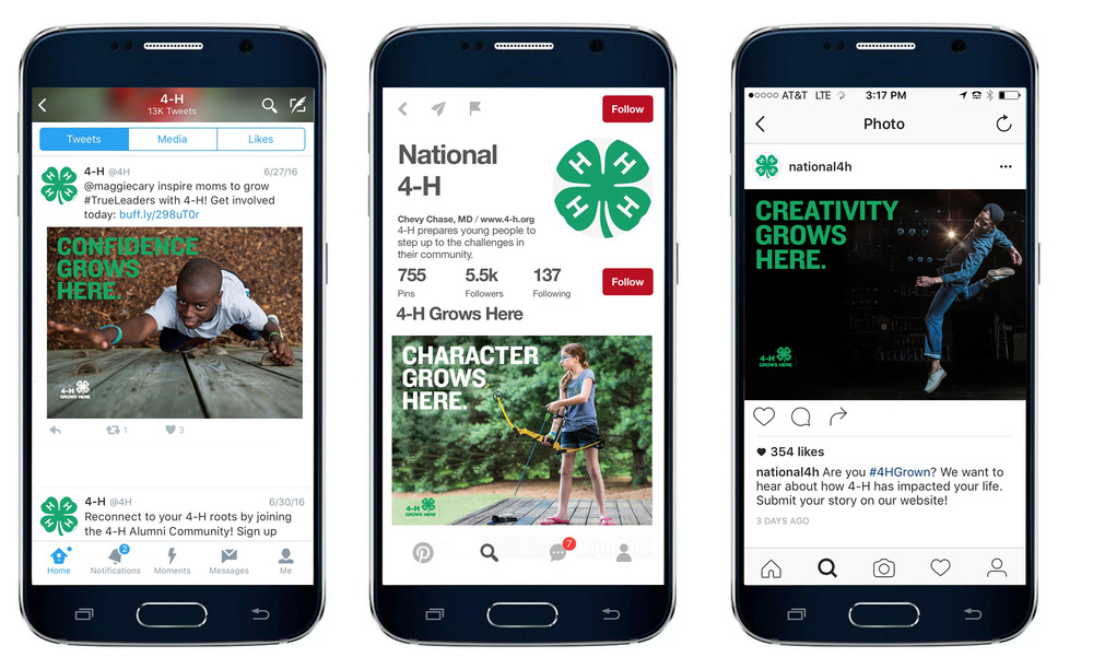 Mobile and social posts on Twitter, Instagram and Facebook for 4H national.
