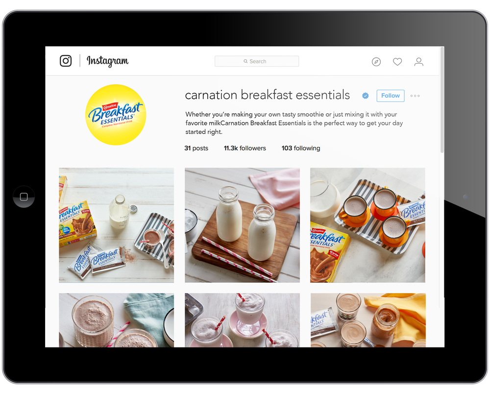 Instagram launch for Carnation Breakfast Essentials featuring updated food photography.