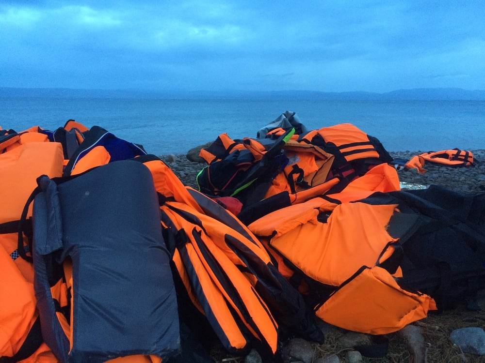 Life vests color the entire coast orange.