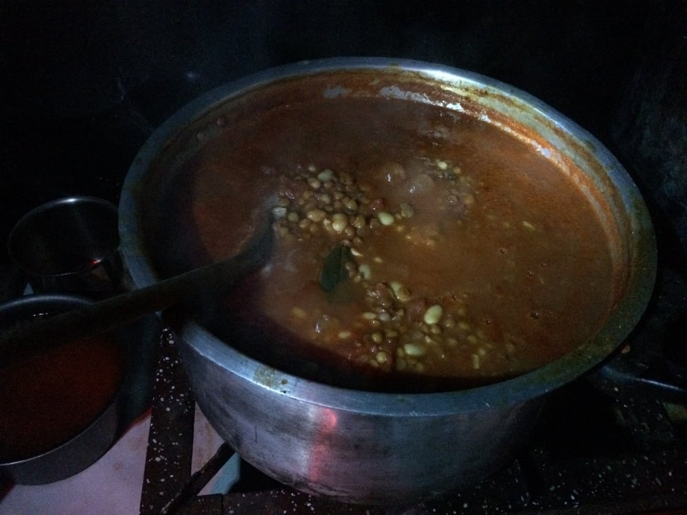 Lentil and bean soup, cooked in the dark.
