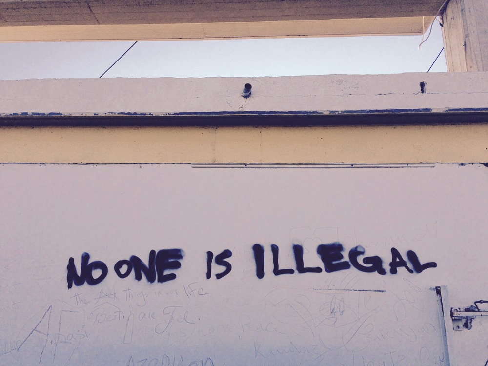 Tagged on the outer wall of Moria registration camp, Lesvos.