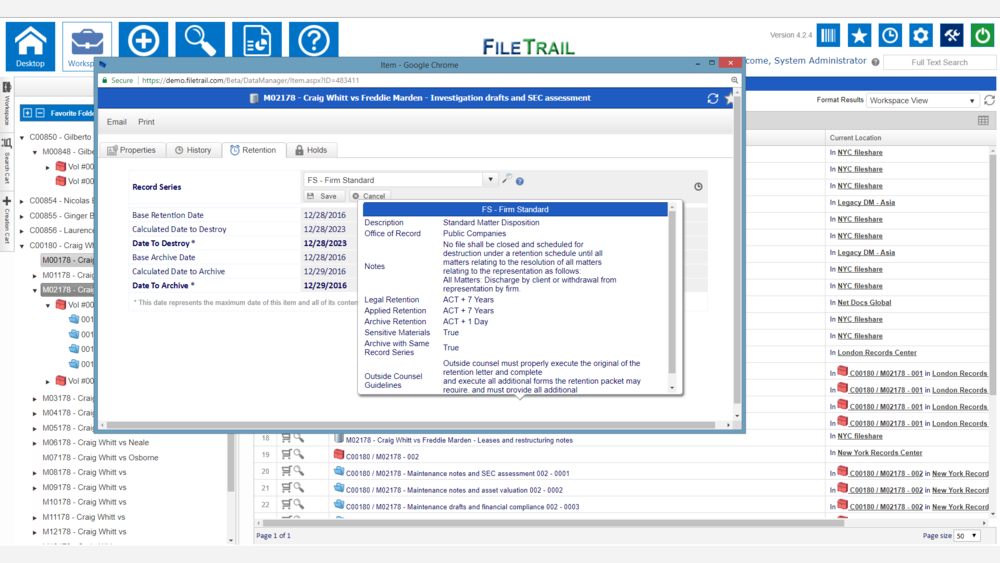 Information Governance Software Screenshot