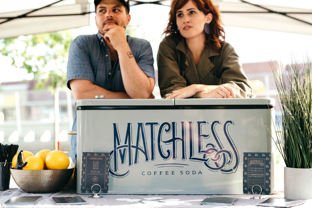 Nathanael Mehrens and Savannah Packard at a pop-up Matchless Coffee Soda event.