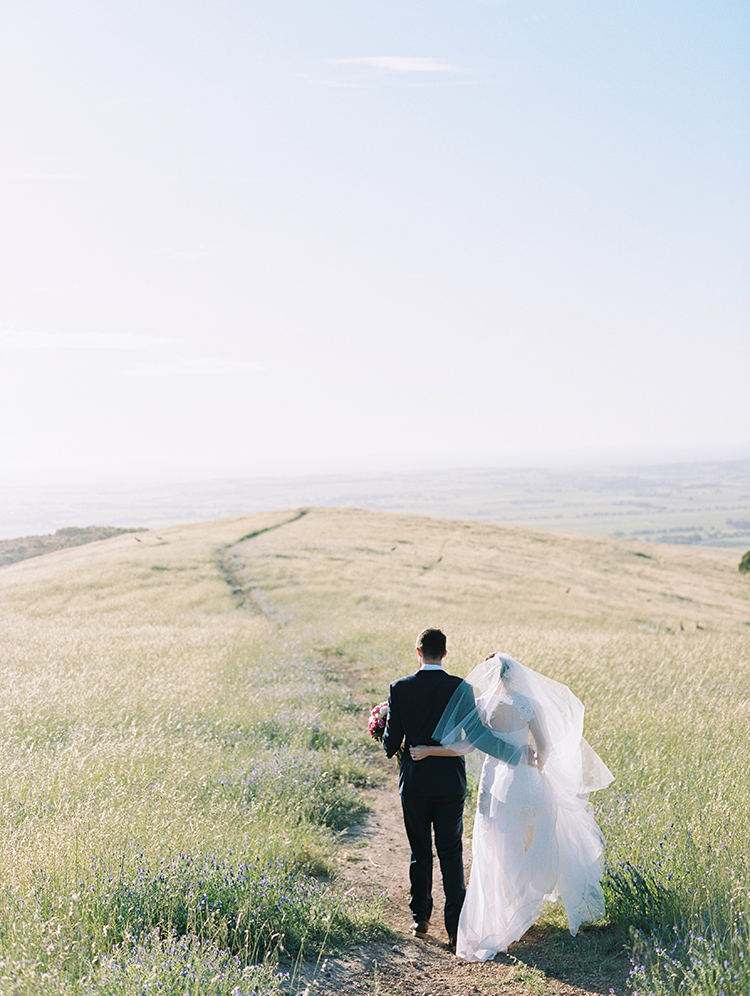 mcallen vale wedding photography-bride and groom-walking on top of hill