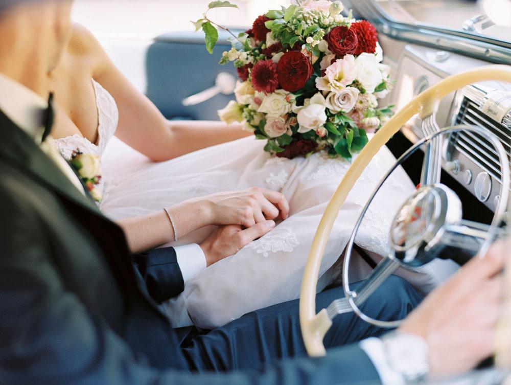 Glen Ewin Estate Wedding Couple Car Best Flowers