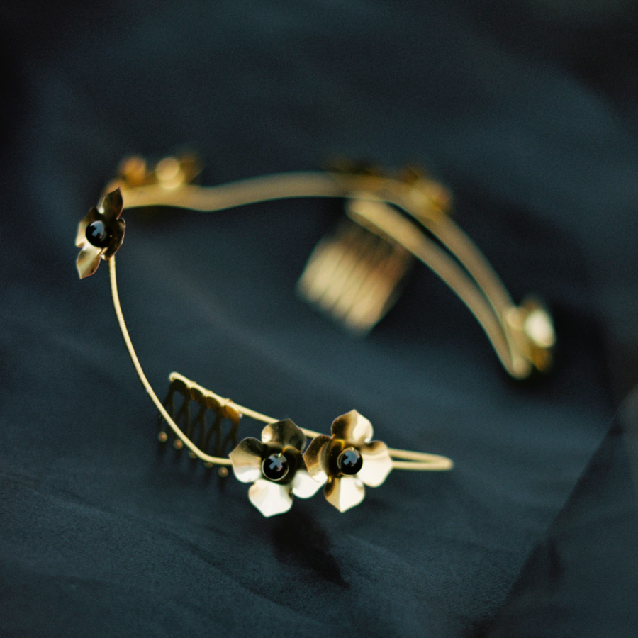 Sylvy Earl headpiece gold on black