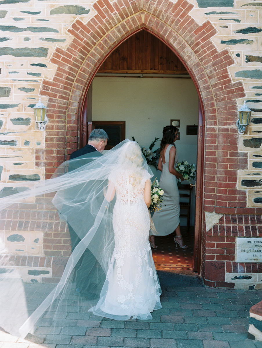 bride arriving at church in port Elliot