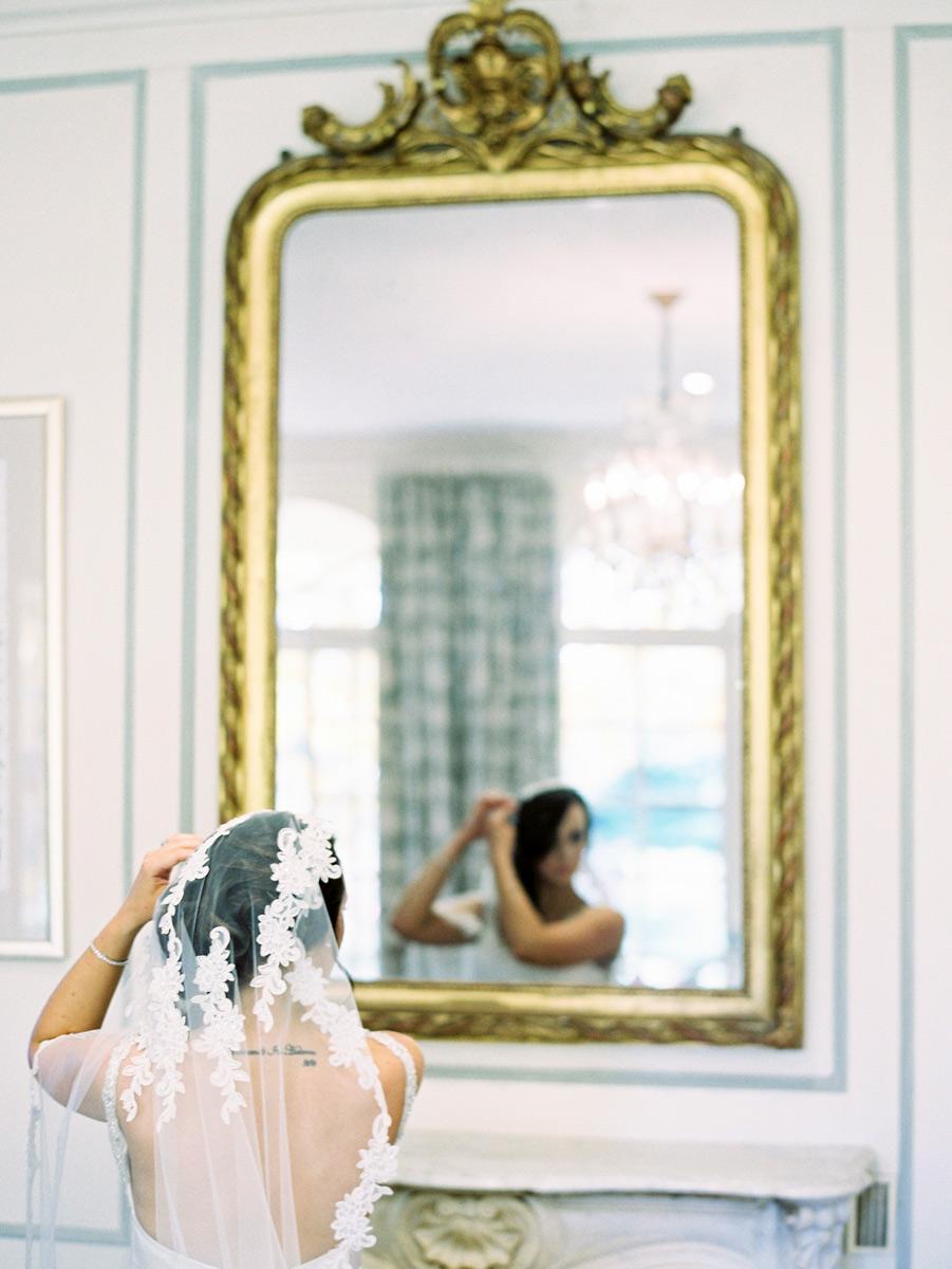 bride with veil mirror Alru Farm Adelaide wedding venue