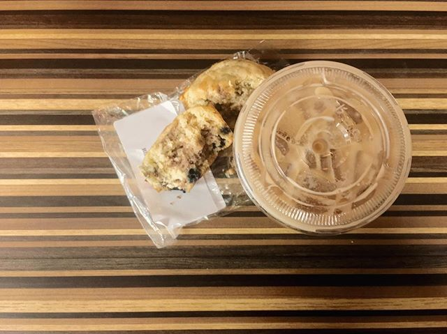 Iced caramel latte and a blueberry muffin. The perfect pairing!