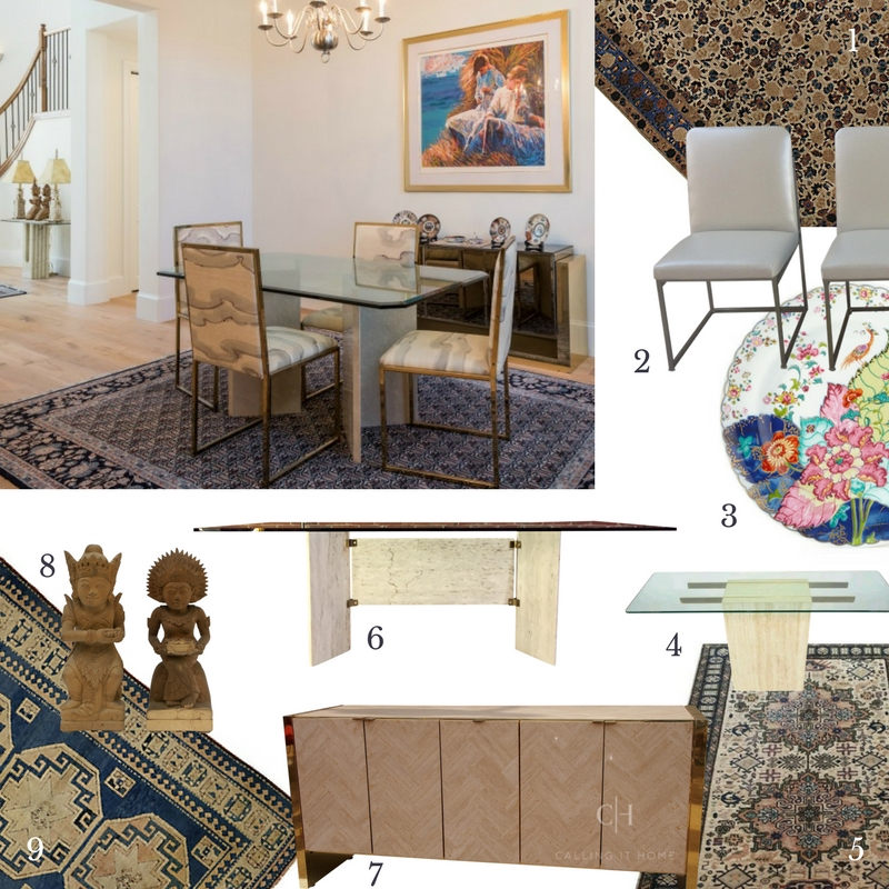1)  Persian Rug  2)  Milo Baughman Dining Chairs  /  Another option  3)  Dinner Plates  4)  Mid-Century Console  5)  Oriental Rug  6)  Travertine & Glass Table  7)  Brass Credenza  8)  Hand Carved Statues  9)  Turkish Rug