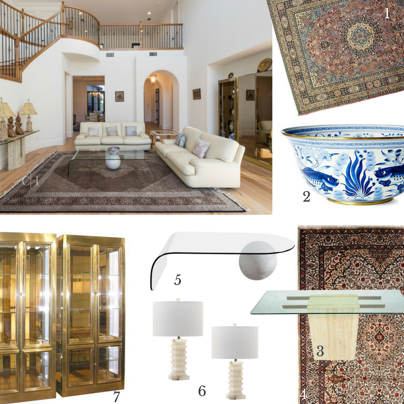 1)  Vintage Rug  2)  Fish & Lotus Bowl  3)  Mid-Century Console  4)  Persian Rug  5)  Waterfall Coffee Table  6)  Alabaster Lamp  7)  Mastercraft Cabinets