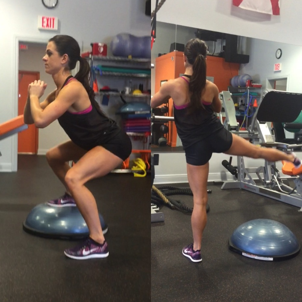Bosu Ball One Leg Squat: Liv Fitness
