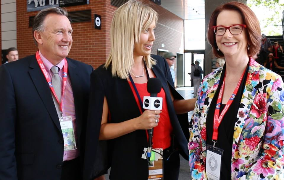 The Delivery chats with former Prime Minister Julia Gillard (right). Photo: The Delivery.