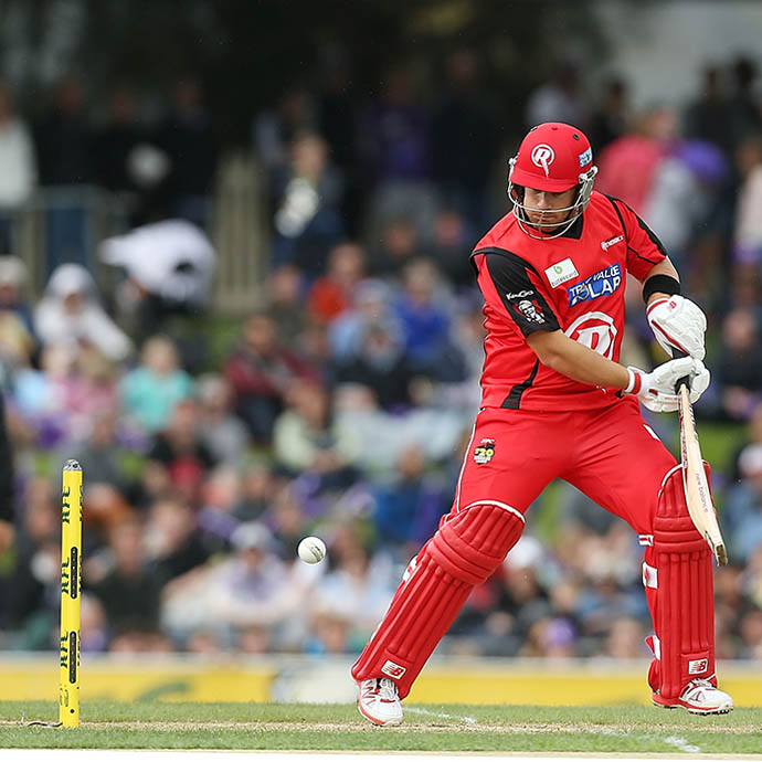 A Melbourne Renegades player looks certain to go out thanks to a crafty bowl. Picture: Getty Images