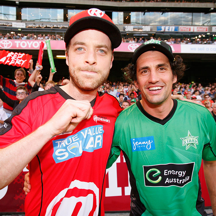 The BBL has attracted a new legion of cricket fans including comedians Hamish Blake (L) and Andy Lee from the Hamish & Andy Show. Picture: Getty Images