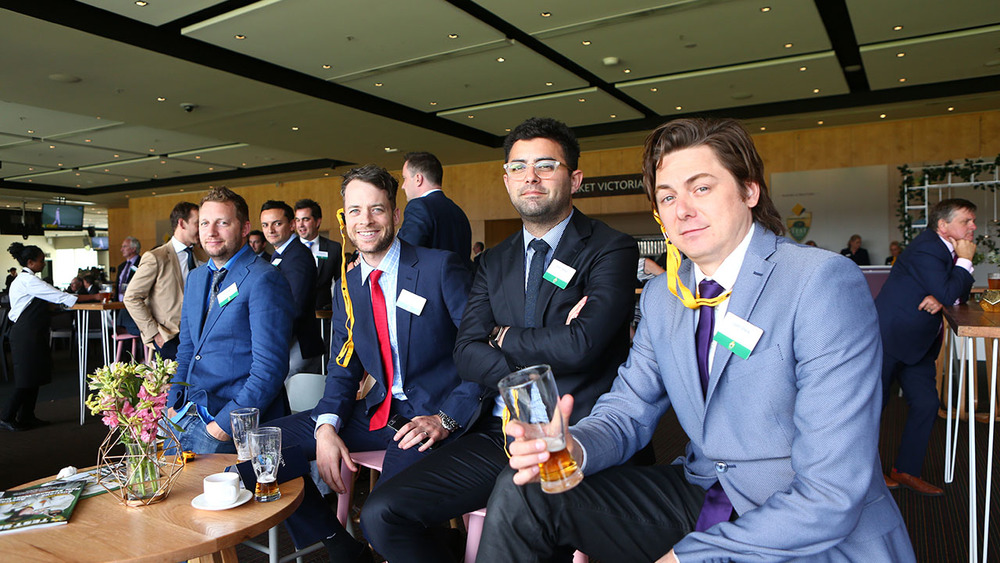 Comedians Hamish Blake & Ryan Shelton enjoy the Commonwealth Bank Boxing Day Test with friends. Photo: Getty Images.