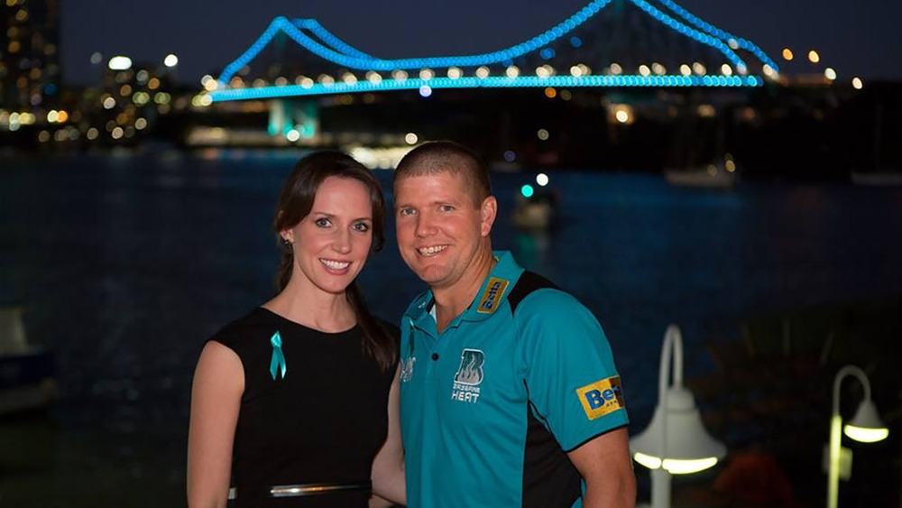 The Brisbane Heat have been helping James & Maria raise awareness for ovarian cancer. Photo: Sourced.