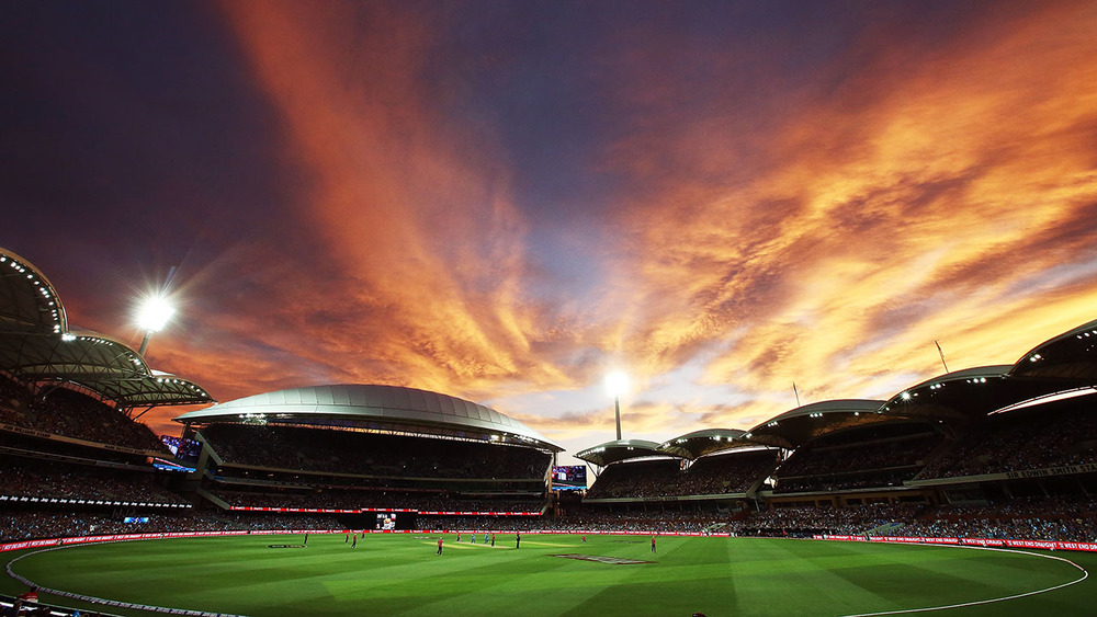 An amazing sunset at Adelaide Oval for New Years Eve 2015. Photo: Getty Images.