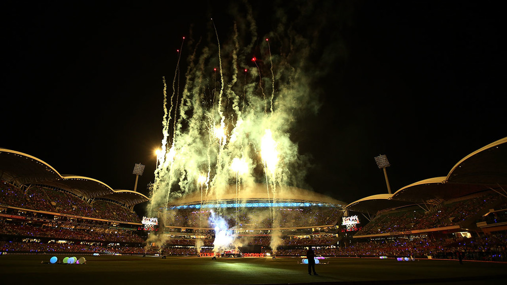 Fireworks gets the crowd pumped up at Adelaide Oval on New Years Eve. Photo: Getty Images.