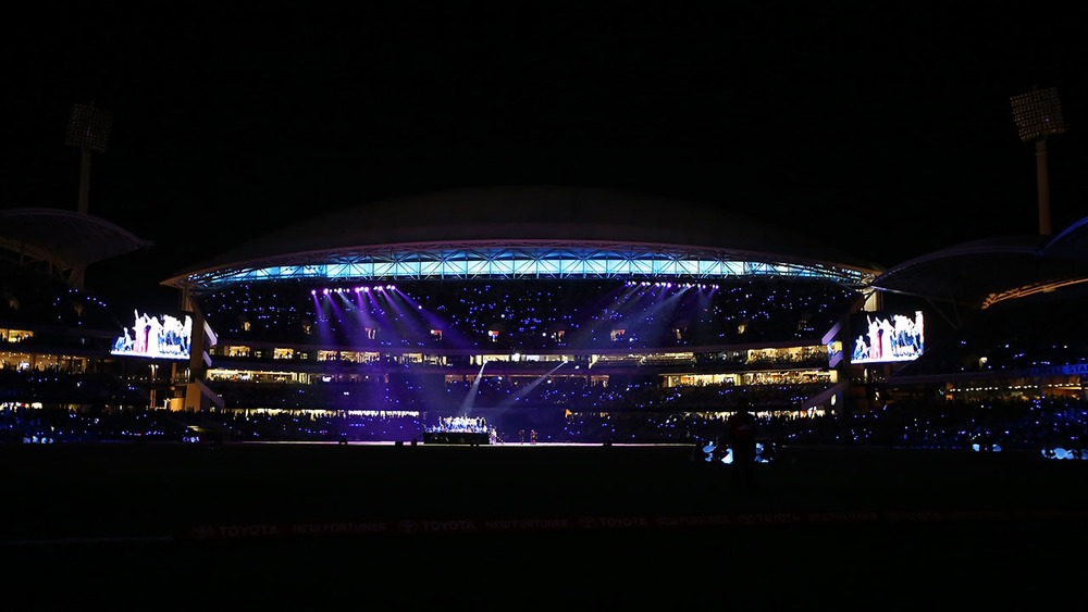 Performers take to the stage at Adelaide Oval. Photo: Getty Images.