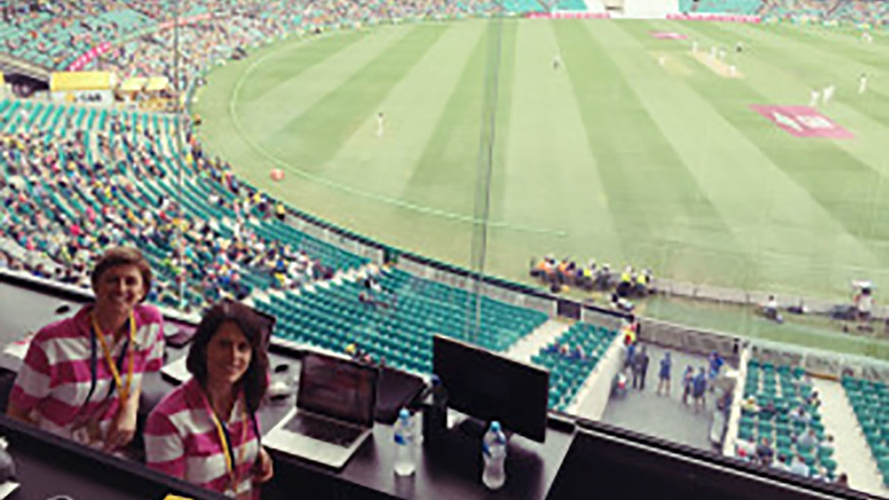 Not bad seats. Team McGrath taking in the Pink Test. Photo: Sourced.