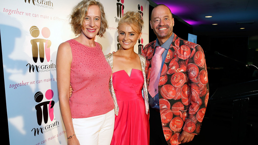 McGrath Foundation CEO Petra Buchanan, singer Michaela Baranov and comedian Adam Spencer. Photo: Getty Images.